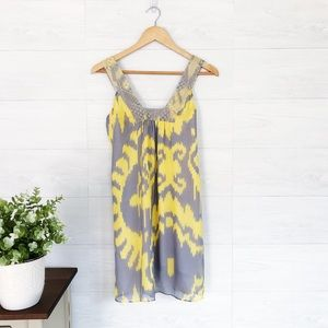 Jenni Kayne Gray Yellow Silk Mini Dress